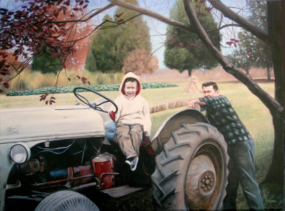 fine art oil portrait of father and son and tractor
